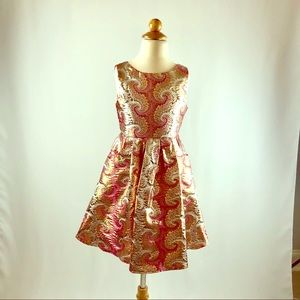 Girls Pink & Gold Lame Dress with Pockets